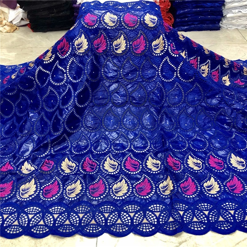 Bazin azul real riche tela con piedras bazin brode 5 yardas bazin nigeriano tela de encaje para vestido de fiesta