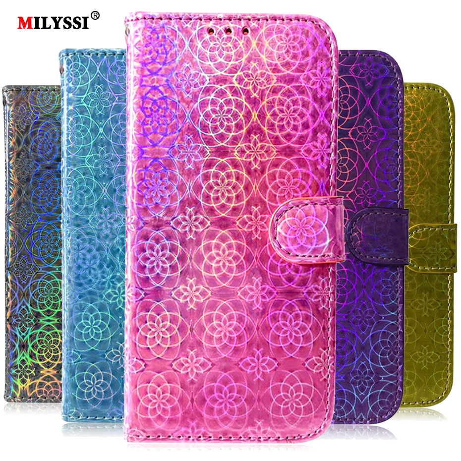 Лазерный флуоресцентный флип-чехол для Xiao mi CC9 E mi Note 10 Pro Red mi K20 Pro 6 7 7A Pro Red mi Note 7 6 8 Pro 8T Кожаный чехол для телефона