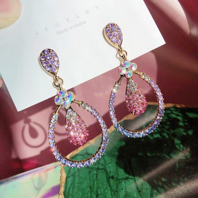 2020 New Vintage Elegant Full Rhinestone Oval Circle Dangle Earrings For Women Fashion Waterdrop Jewelry Brinco