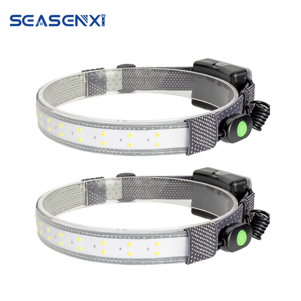 COB LED Strip Headlamp 3-Mode 600LM Headlight Outdoor Waterproof Head Torch by AAA Battery Work Light Camping Hunting Flashlight