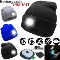unisex led knitted beanie with head lamp light usb rechargeable high powered fashion knit cap men women hip hop winter warm hat