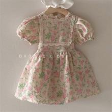 EnkeliBB Korean Style Toddler Girl Summer Vintage Tutu Dress Floral Pattern Kids Girls Short Sleeve Dresses Baby Fashion Summer