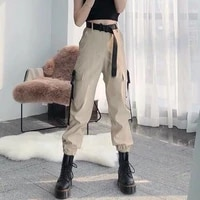 women casual plus size korean style loose pants 2021 fashion elastic waist cargo female streetwear pants trousers with belted