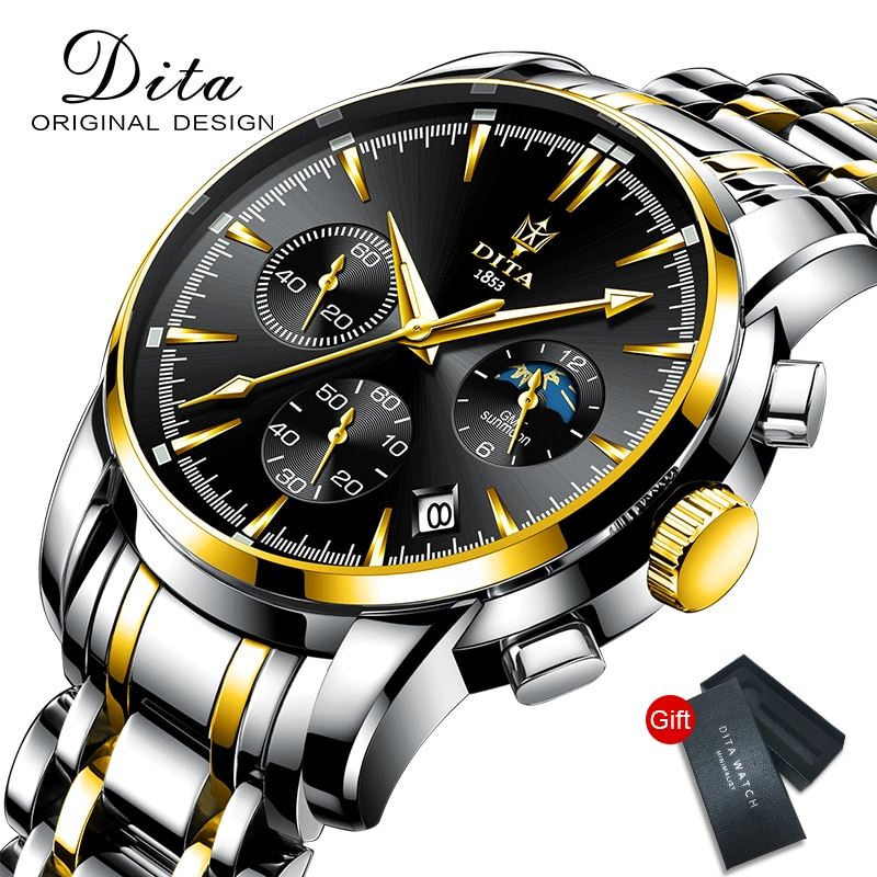 Top Brand Quartz Watch Men Stainless Steel 30M Waterproof Leather Wristwatches Black Calendar Lumino