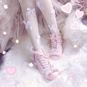 Sweet style canvas shoes fresh pink strap women's shoes lolita student shoes high-heel canvas shoes kawaii girl cosplay shoes