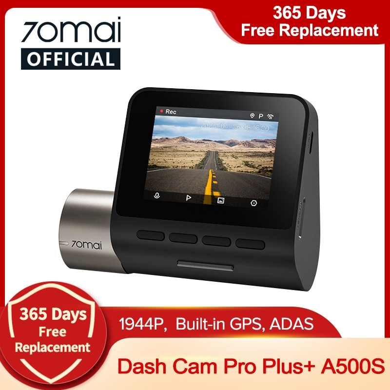 70mai 대쉬 캠 프로 플러스 + 70mai 플러스 자동차 DVR 내장 GPS 1944P 속도 좌표 ADAS 24 시간 주차 A500S 지원 후면 캠