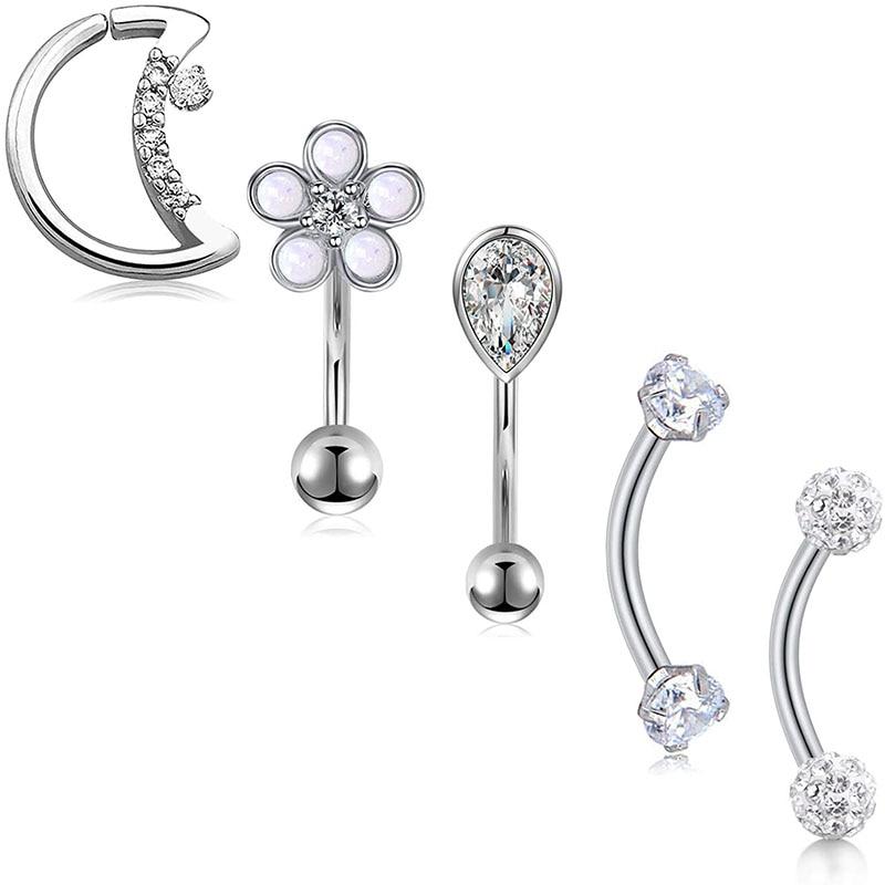 16G Rook Daith Ohrringe Curved Barbell mit CZ Opal Design Mond Ring für Daith Conch Knorpel Augenbraue Ringe Piercing