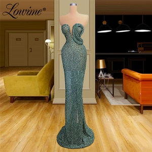 Green Beads Mermaid Evening Dress 2020 Custom Made Wedding Party Dress Formal Evening Gown Long Dubai Arabic Prom Dresses