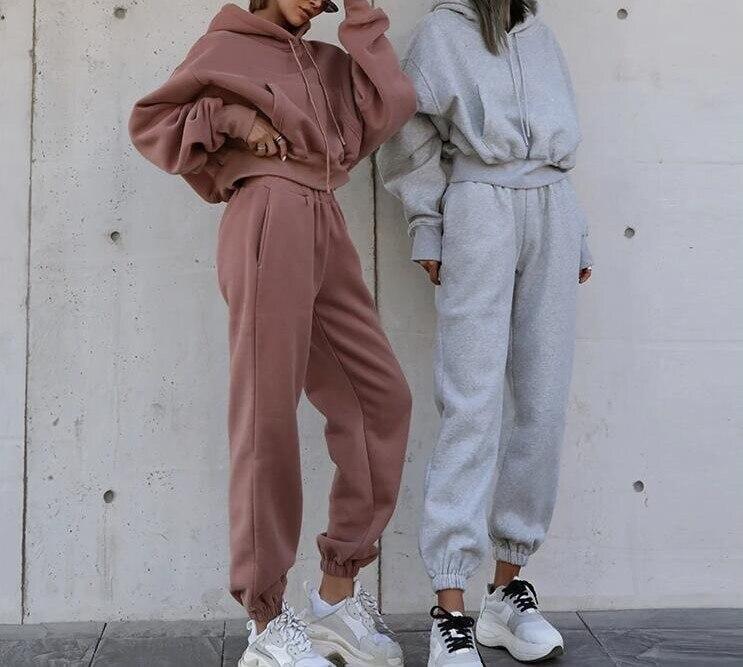 Oeak Women Two Piece Set Outfits Autumn Women's Tracksuit Oversized Hoodie And Pants Casual Sport Suit Winter 2 Piece Woman Set