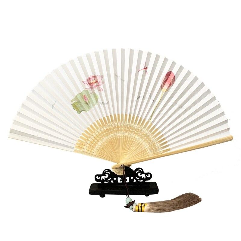 Xuan-ventilador de papel plegable clásico estilo chino ventilador plegable de bambú, Estilo...