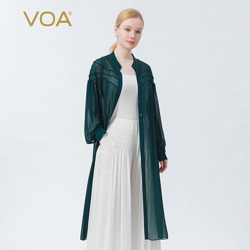 VOA 100% التوت الحرير جورجيت طوق حفرة الأخضر صف واحد متعدد زر مهرج يخرج لارتداء رقيقة خندق النساء المعاطف WE115