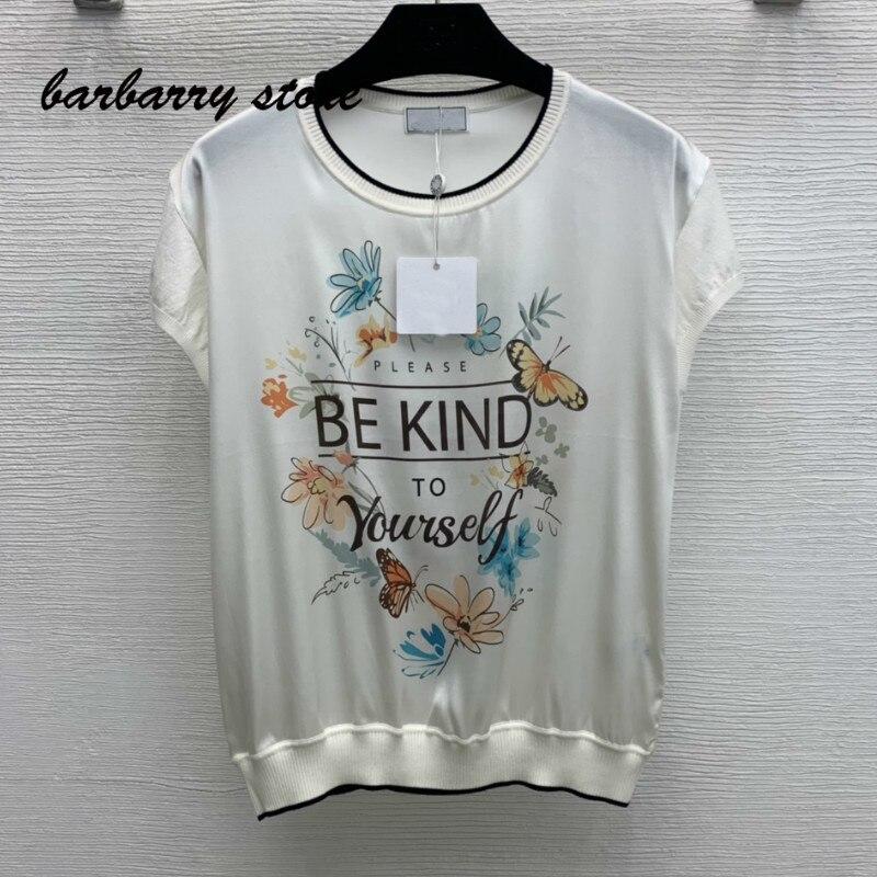 2021 luxury design floral alphabet printing fashion women's top temperament versatile knitting short sleeve graphic T-shirt
