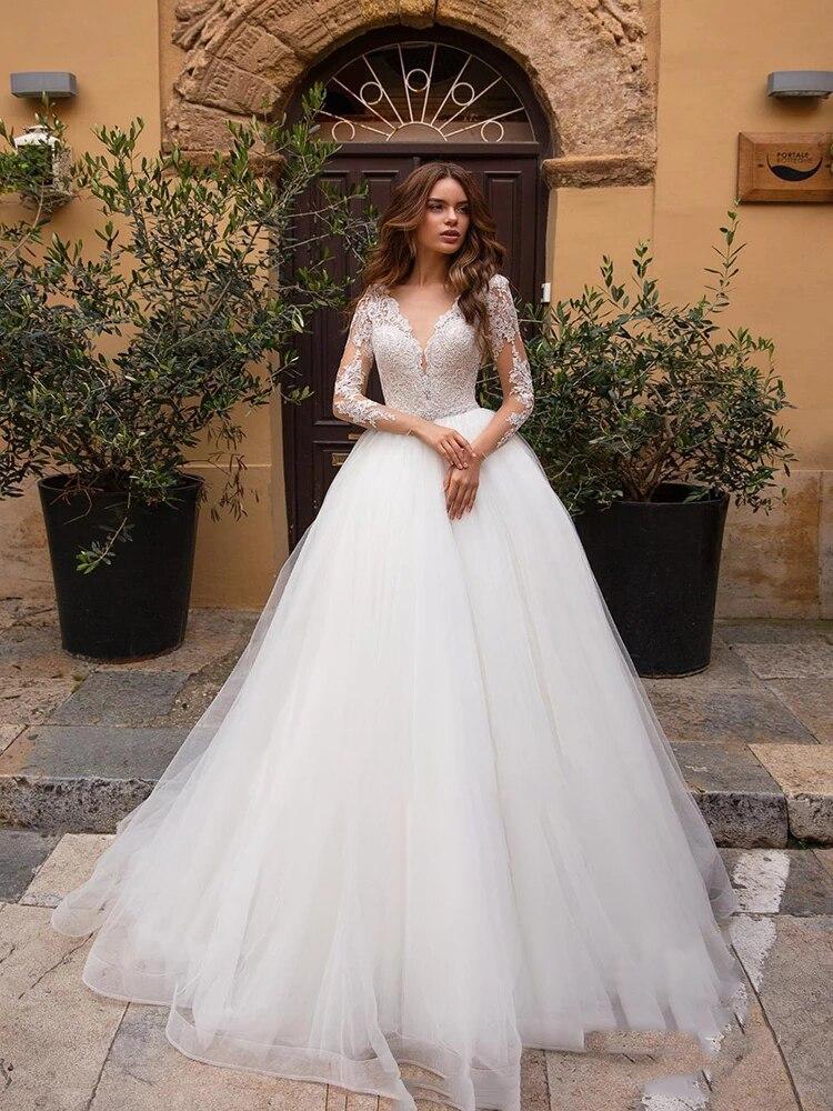 Get Wedding dress Lace wedding dress v-neck long sleeve simple atmosphere wedding gown fluffy skirt big skirt plus size