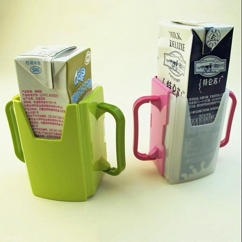 New  Adjustable Plastic Safy Baby Toddler Kid Juice Milk Box Drinking Bottle Cup Holder Mug 2 Colors
