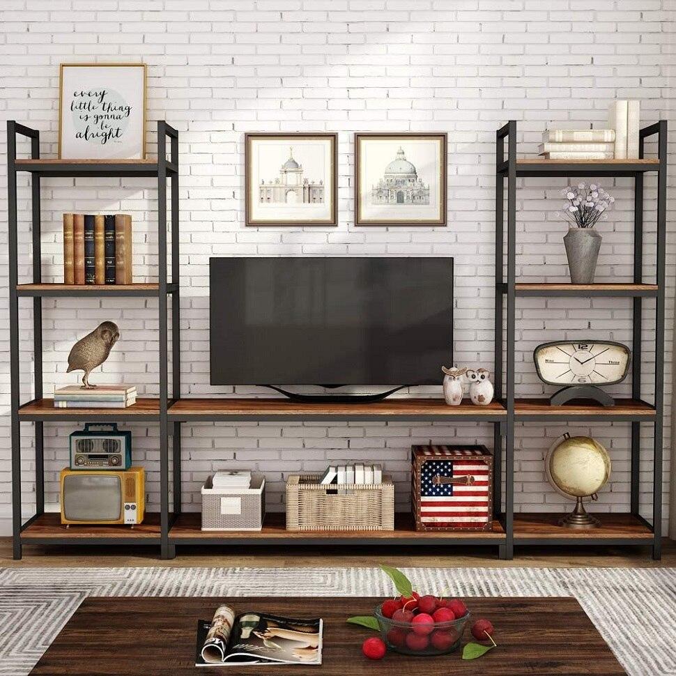 Tribesigns große 3-stück entertainment-center wand schrank mit lagerung, bücherregal, bücherregal für wohnzimmer