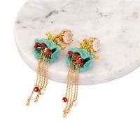 european and american new style hot sale enamel lily of the valley flower earrings long tassel 925 silver needle dangle earrings