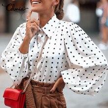 Celmia camicie Vintage da donna 2021 autunno manica lunga lanterna camicetta a pois autunno Casual Blusas elegante Chic elegante OL top