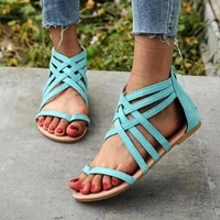 lady casual sandals shoes plus size 35 43 women bohemia colorful summer gladiator flat ankle strap sandals shoes