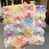 5pcs cute net yarn bow hair clip pin children girls shiny candy small flower hairpin barrette kids princess hair accessories set