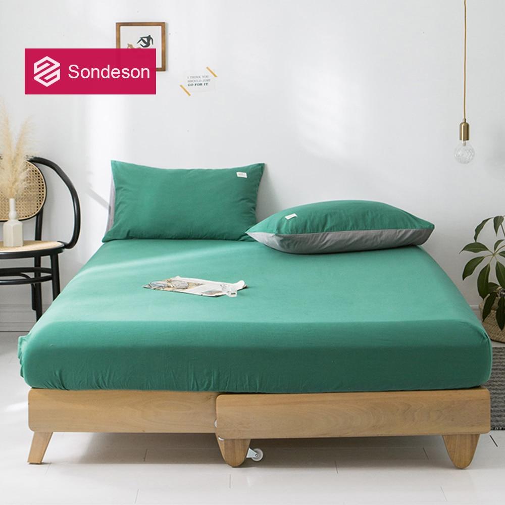 Sondeson 100% القطن الأخضر الداكن شرشف مع شريط مطاطي الملكة الملك المطبوعة لينة غطاء مرتبة أغطية سرير المخدة 3 قطعة
