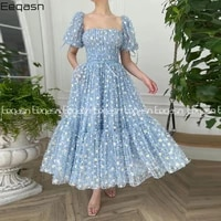 baby blue tulle with embroidered daisies evening dresses with pockets decorative ribbon tea length wedding party dresses