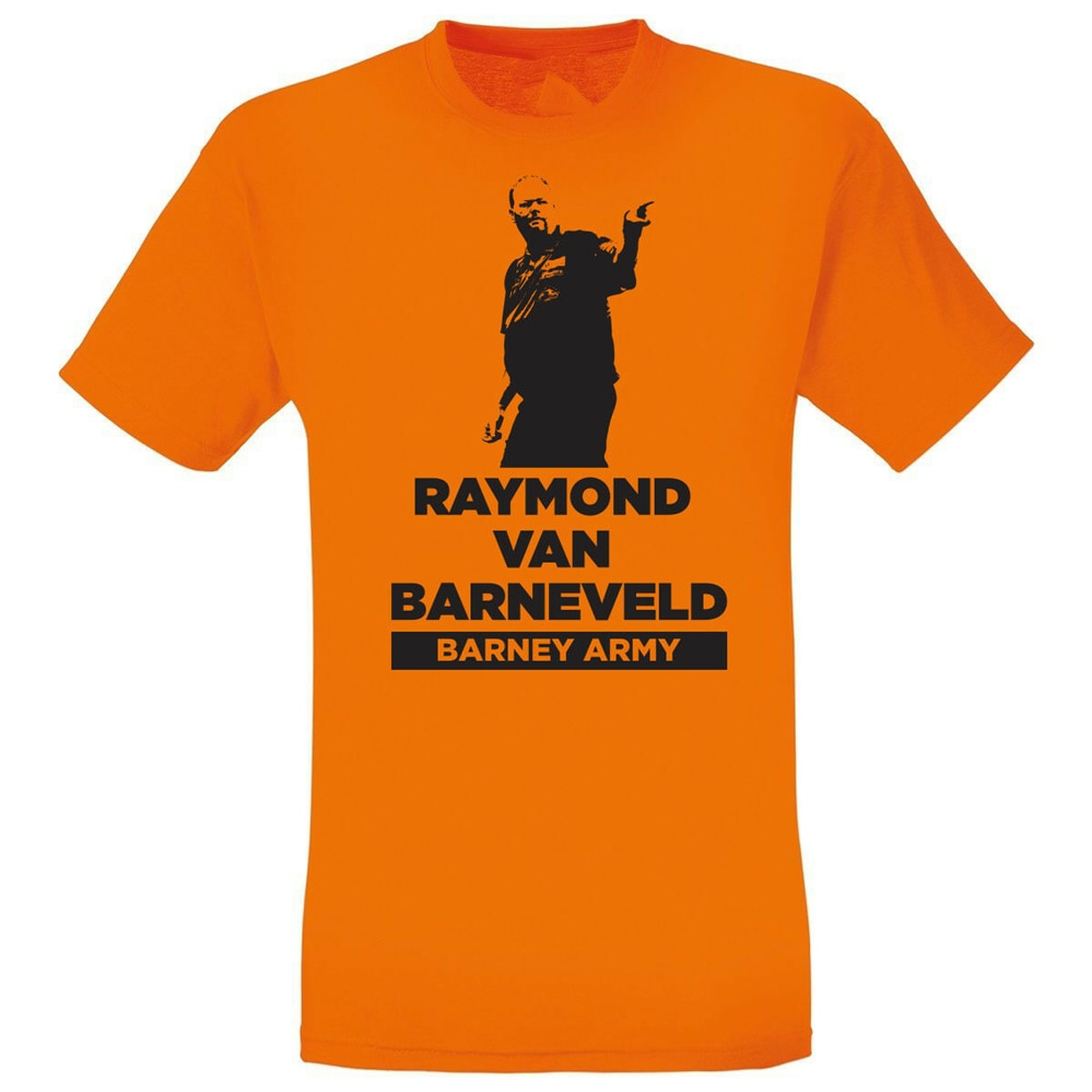 Raymond Van Barneveld Barney ejército dardos leyenda naranja camiseta hombres mujeres S XXL camiseta marca ropa Tops