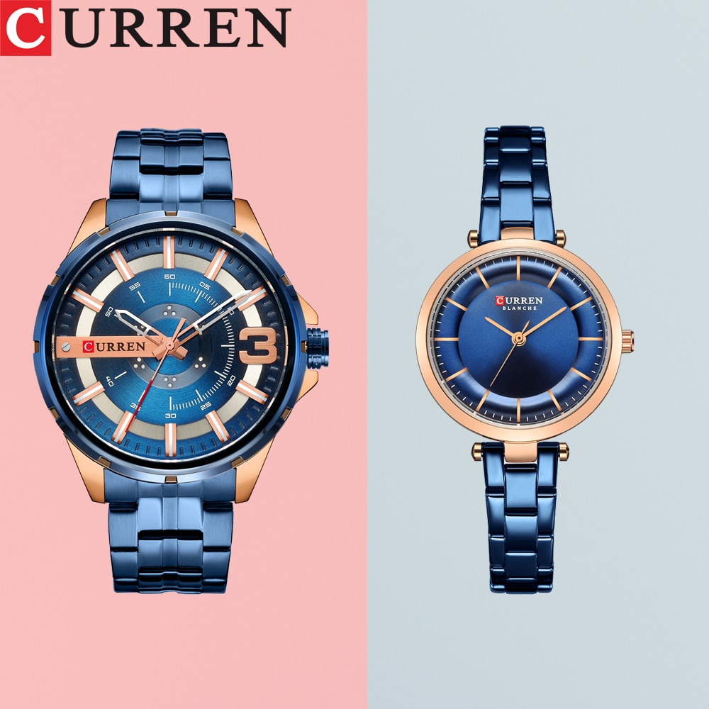 CURREN Couple Watch Men Fashion Quartz Women's Watches Simple Casual Stainless Steel Bracelet Wristw