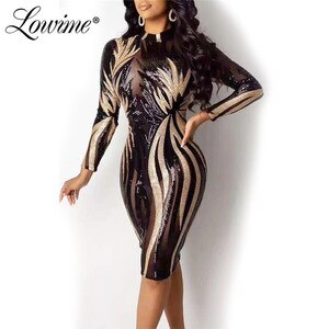 Sexy Slim Party Dresses 2020 New Arrival Long Sleeves Sequins African Women Aibye Evening Gowns Custom Made Party Dresses