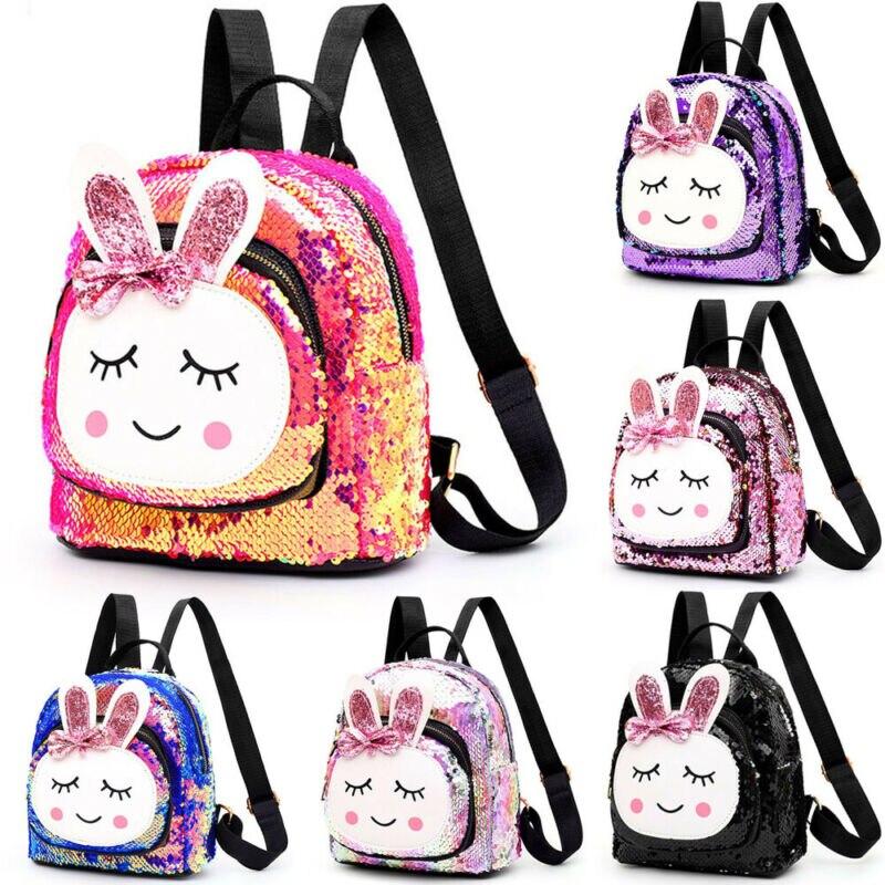 ¡Novedad de 2020! Mochila Kawaii con bonito conejo brillante y lentejuelas, accesorios ostentosos brillantes, mochila para bebé y niña, bolso de hombro de viaje para escuela