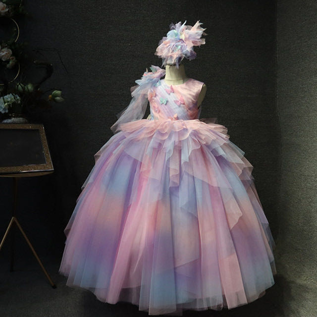Unicorn Rainbow Girls Pageant Birthday Dresses Girls Colorful Celebrity Princess Ball Gowns Pink Girls Puffy Gowns Custom