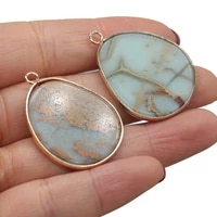 elegant blue ocean mine charm natural stone pendant fat drop shape charms for jewelry making diy necklace accessories gifts 1pc