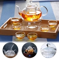 600ml teapot with 6 cup kung fu puer glass teapot with infuser filter strainer teacup heat resistant tea pot kettle teaware