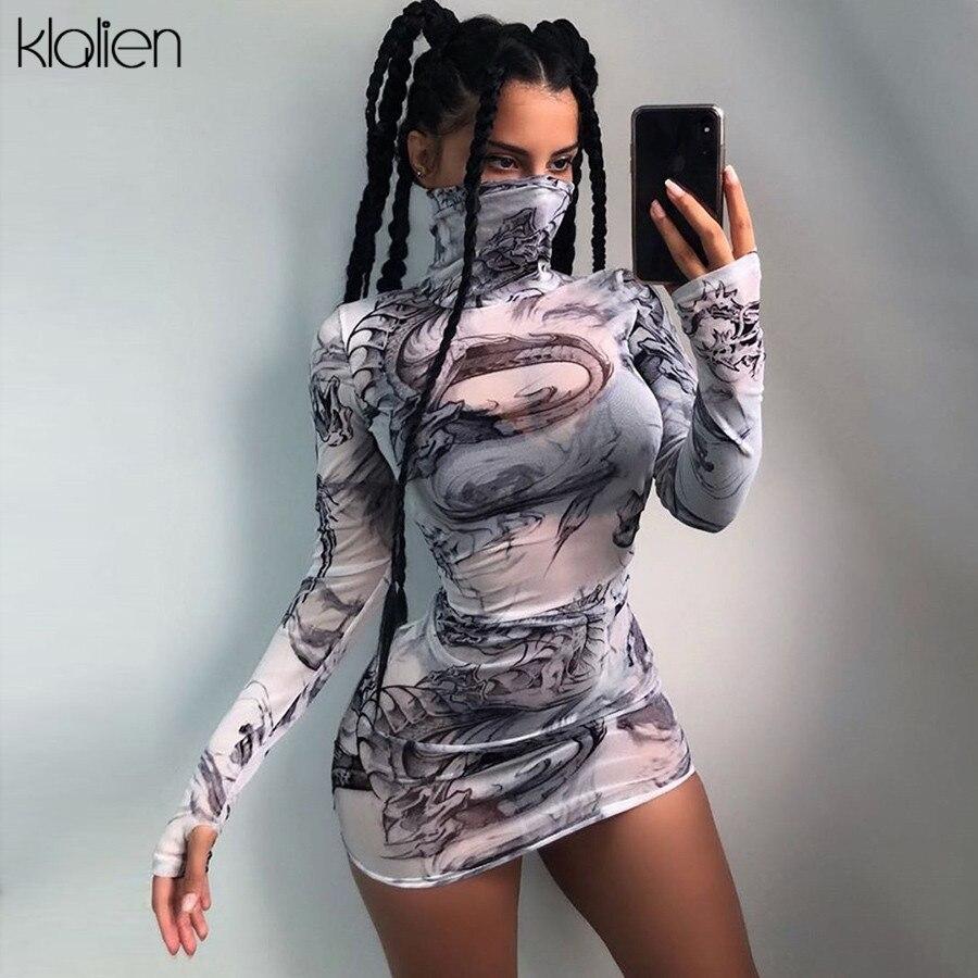KLALIEN women turtleneck dress sexy mesh material print slim skinny dresses autumn new long sleeve female fashion skinny outfits