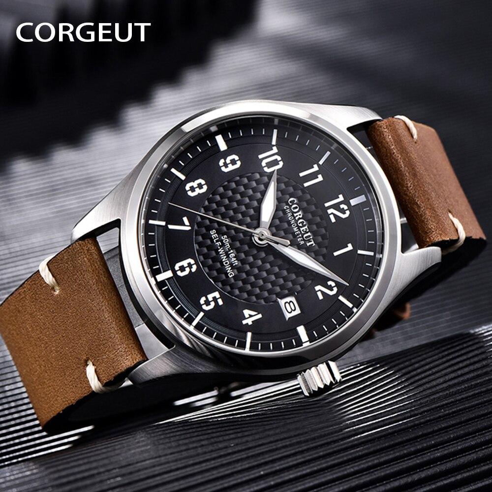 CORGEUT ساعة موضة 2021 ساعة رجالية عادية جاكيت جلدي ماركة ساعات فاخرة مقاوم للماء مضيئة بسيطة ساعة اليد الميكانيكية