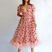 สตรอเบอร์รี่ชุดผู้หญิงชุดยาว V คอพัฟแขนตาข่ายเซ็กซี่ Party Dresses Vintage ดอกไม้ชุดสตรี