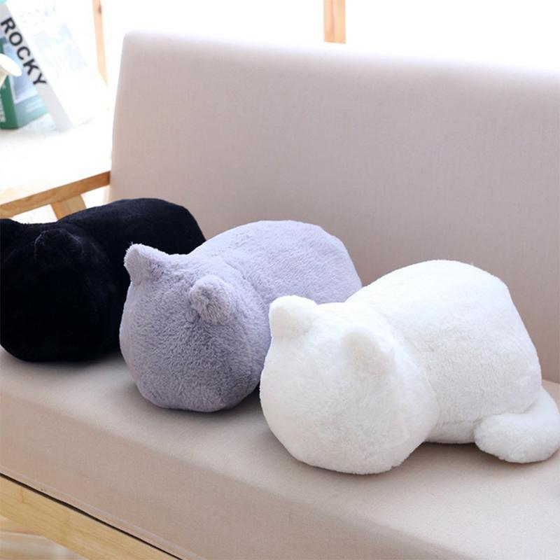 أبيض أسود رمادي القط أفخم الوسائد وسادة الظهر الظل القط شغل الحيوان وسادة لعب الاطفال هدية ديكور المنزل لغرفة المعيشة
