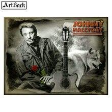 Pintura de diamante de John halyday 20x25cm guitarra completa cuadrada y redonda Lobo diamante arte 5d mosaico de diamantes diy artesanías de cantante francesa