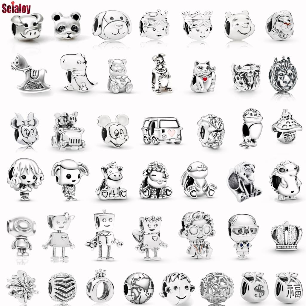 Collar Seialoy de Color plata con diseño de Animal gato, perro, abalorio de dibujos animados de Anime, compatible con pulseras de marcas, accesorio de joyería Original para mujer