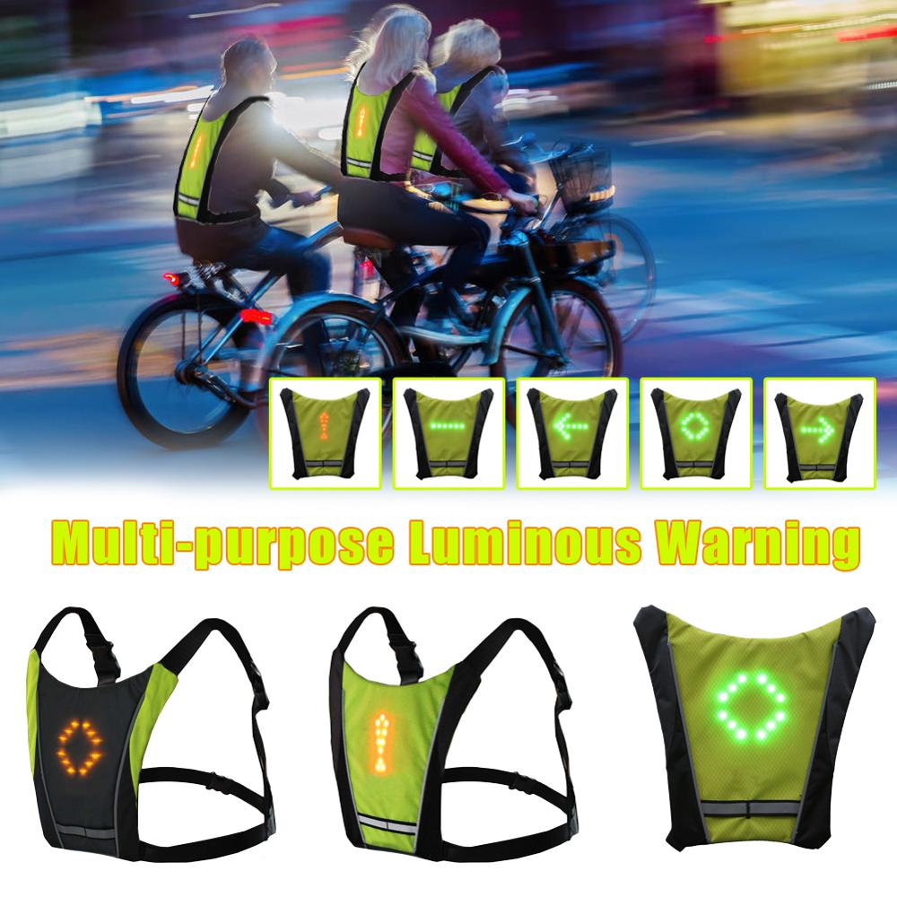 Chaleco de ciclismo inalámbrico LED 2020, bolsa de bicicleta MTB de 20L, chaleco de seguridad con luz LED de intermitente, chalecos de advertencia reflectantes para bicicleta con mando a distancia