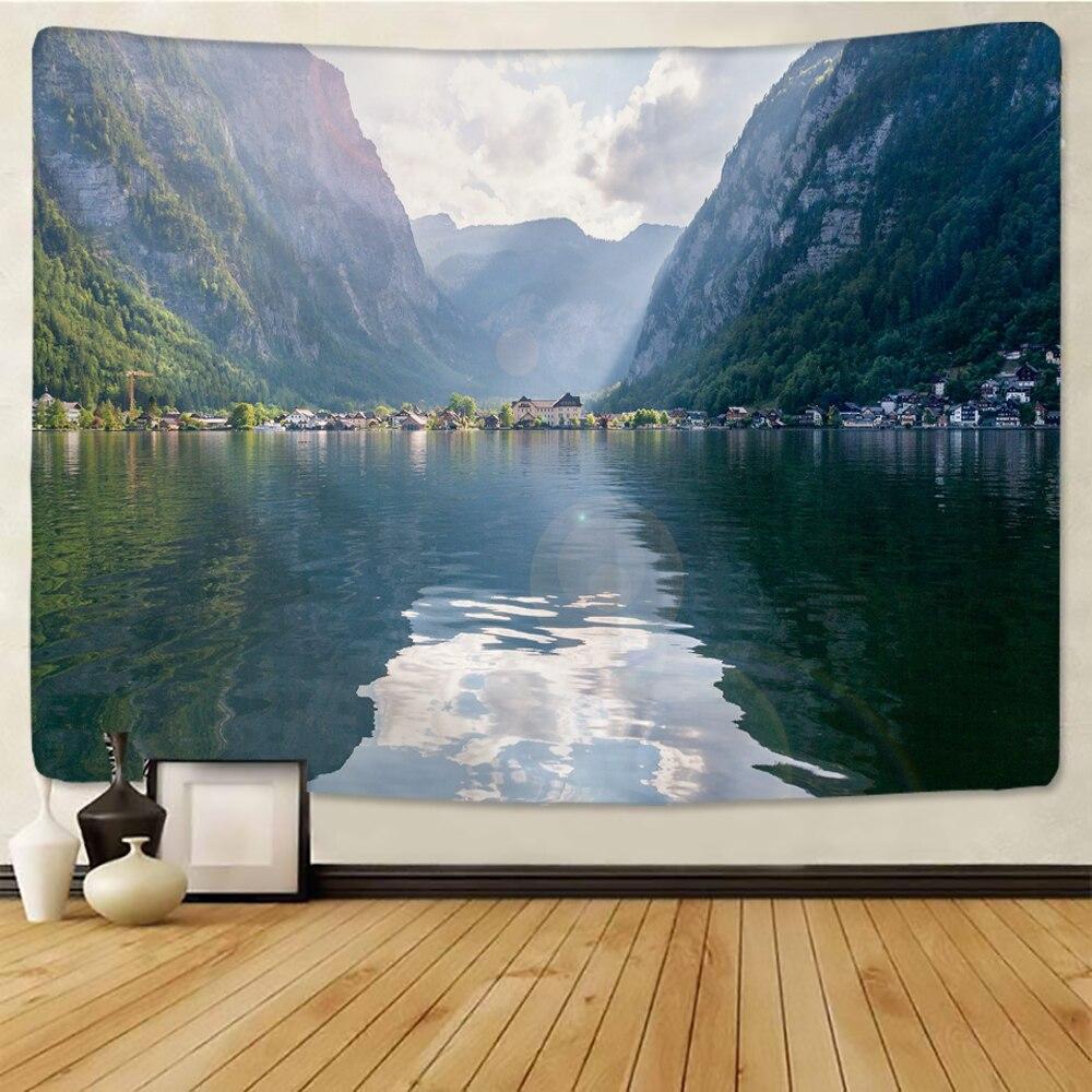 Natural hermosa Impresión de paisaje pared grande tapiz barato Hippie colgante de pared bohemio tapices Mandala de pared arte
