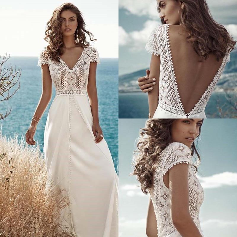 Boho Lace Chiffon Wedding Dresses 2020 V Neck Backless Beach Bride Dress Cap Sleeve Sweep Train Bohemian Robe de mariee A Line