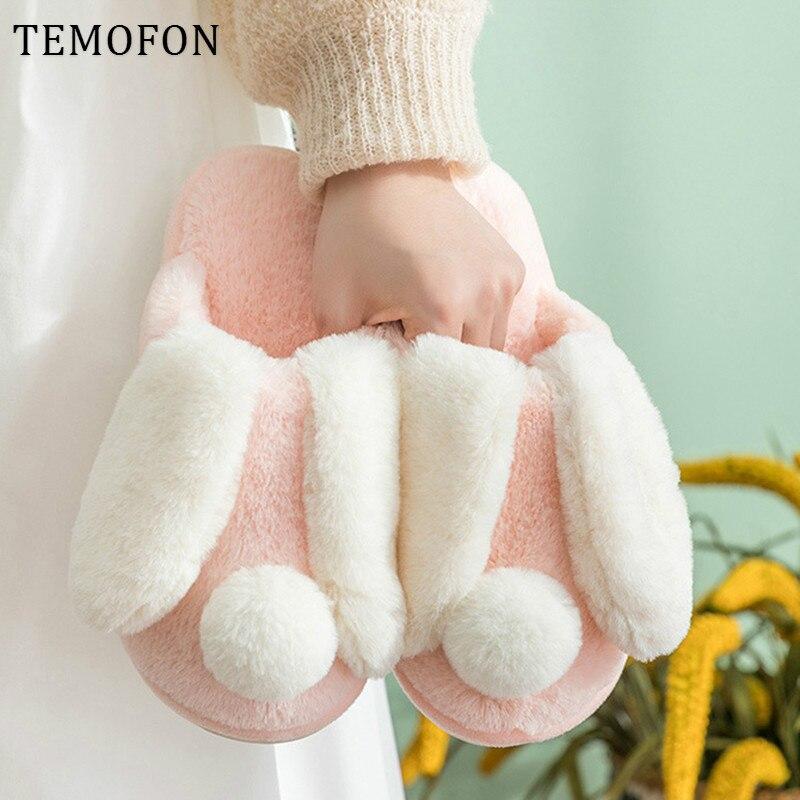TEMOFON, zapatillas peludas para mujer, zapatos de invierno de felpa, zapatos de conejo para mujer, Zapatillas de casa para mujer, zapatos cálidos para interiores, lindos, HVT1301