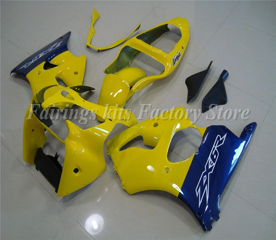 4 Gifts New ABS Motorcycle Fairing Kits fit for Kawasaki ZX6R 636 600cc 2000 2001 2002 Bodywork set Custom Yellow Blue