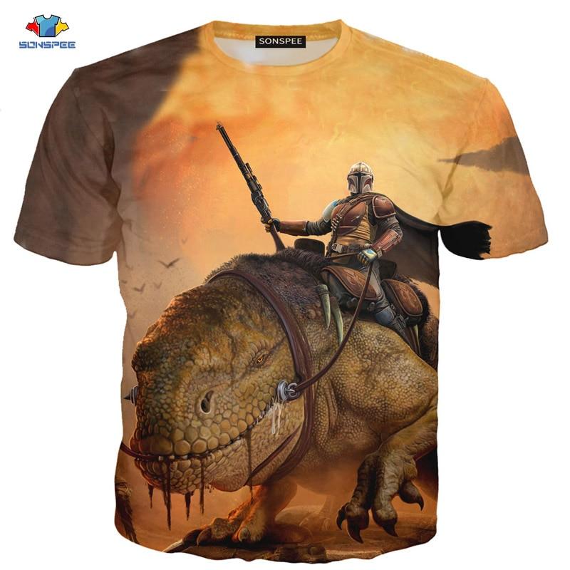 Camiseta de manga corta de verano para hombre de SONSPEE, camiseta Popular de la serie TV Mandalorian, camiseta de dinosaurio de ciencia ficción, camiseta de Animal Shootout Top