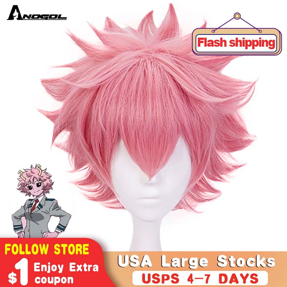 Anogol My Hero Academy Boku no Hero Academia Mina Ashido Short Natural Wave Pink Synthetic Cosplay Wig For Halloween Party