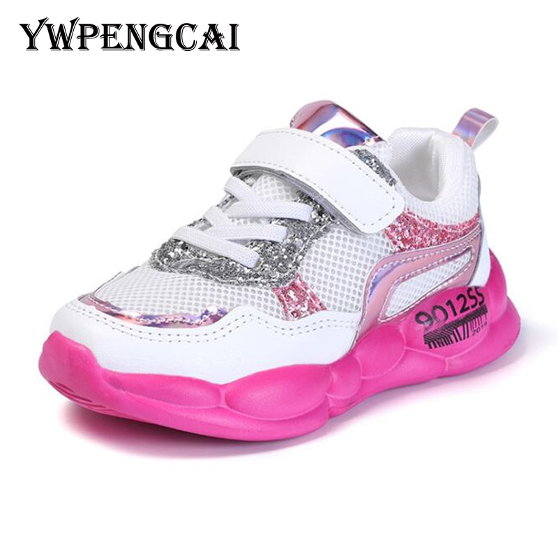 YWPENGCAI Spring Autumn Children Shoes Girls Sneakers Breathable Mesh Air Casual Sport Shoes Rubber