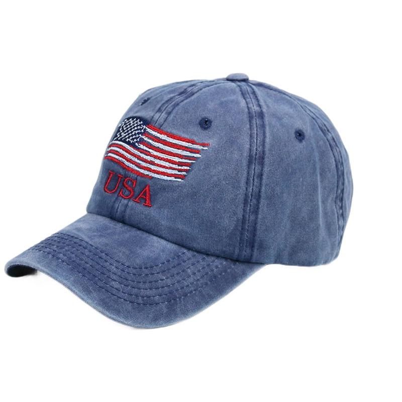 Мужские и женские винтажные бейсболки с вышивкой, с американским флагом США, Модная Джинсовая Снэпбэк Кепка с потертостями, хлопковые шапки...