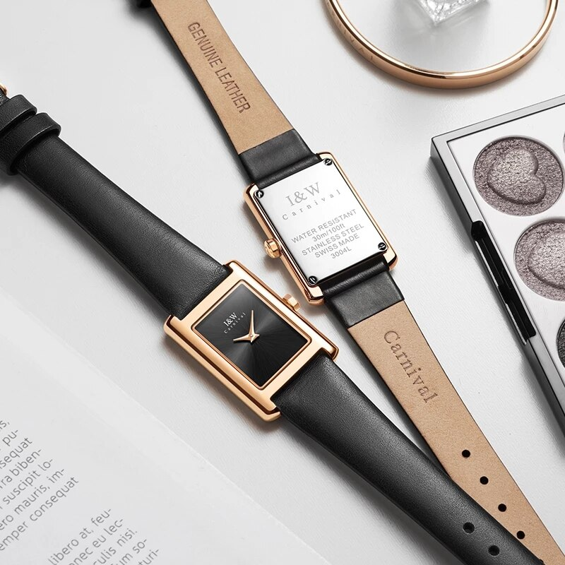 Reloj Mujer CARNIVAL Brand Ladies Fashion Rose Gold Watch Woman Waterproof Sapphire Casual Quartz Wristwatches Relogio Feminino enlarge