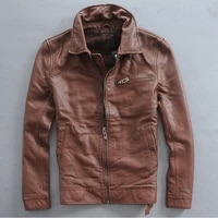 fitted turn slim down collar mens genuine leather jacket with three pockets thick cowskin casual leather coat men brown black