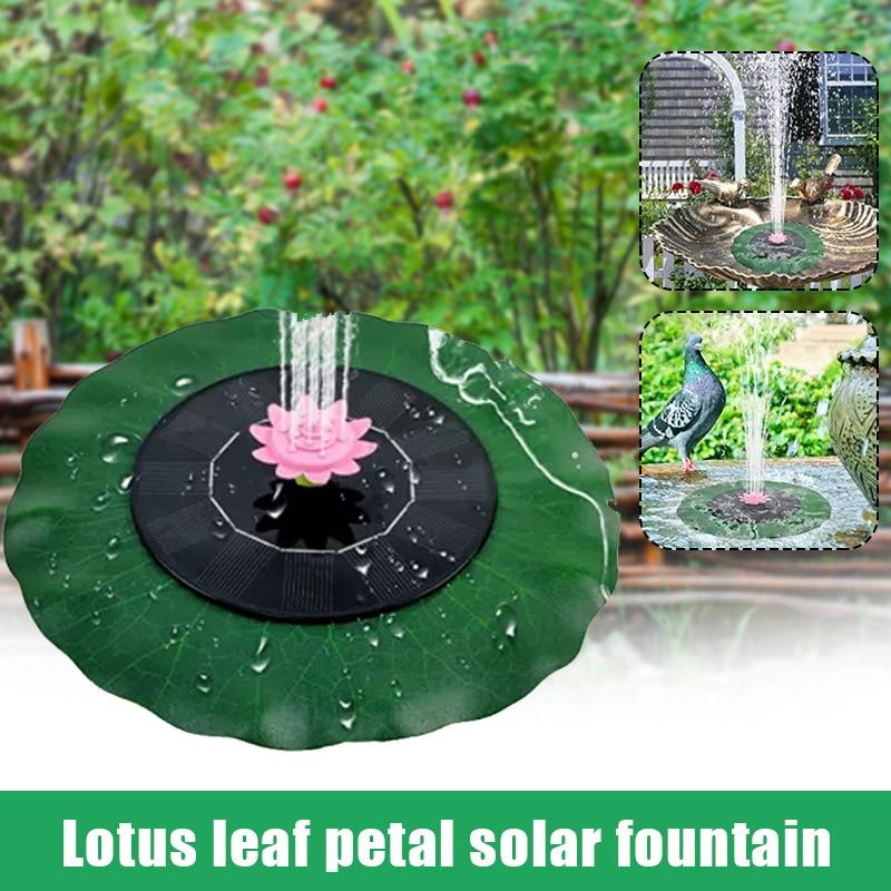 Fuente Solar en forma De hoja De loto, estanque De Agua flotante...